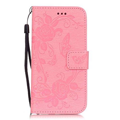 Uming® Motif Gaufrage Séries Fleur Bloom Papillon cas PU Holster Case ( HotPink Butterfly - pour IPhone 6 6S IPhone6S IPhone6 ) Artificial-cuir flip avec support Stander titulaire de la carte de crédi Pink Butterfly