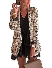 Blazer Manteau Femmes Manches Longues Vestes de Tailleurs Haut Jacket Casual  Peau de Serpent Imprimée Coat Blousons Tops Outwear… 3c9ddf6a7c75