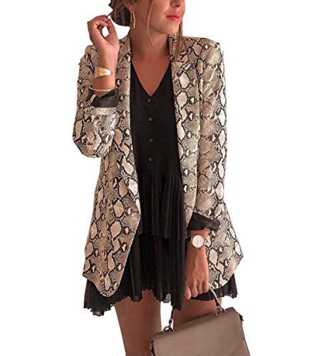 Mujeres Piel Serpiente Impresión Outwear Tops Jacket
