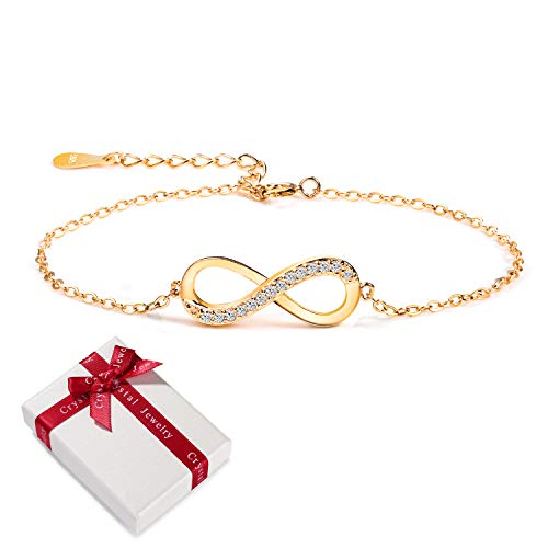 Damen Armband Gold Zirkonia 925 Sterling Silber Schmuck für Frauen Mädchen,Infinity Unendlichkeit Armkettchen Unendlicher Liebe Armbänder Armreif Geschenk für Weihnachten Valentinstag Geburtstag (Infinity Armband Gold)