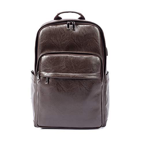 (Yslin Business Rucksack Herren Groß Backpack Daily Casual Schulrucksack Wasserfest Rucksäcke Laptop PU Leder Laptoprucksack 14 Zoll (Braun))