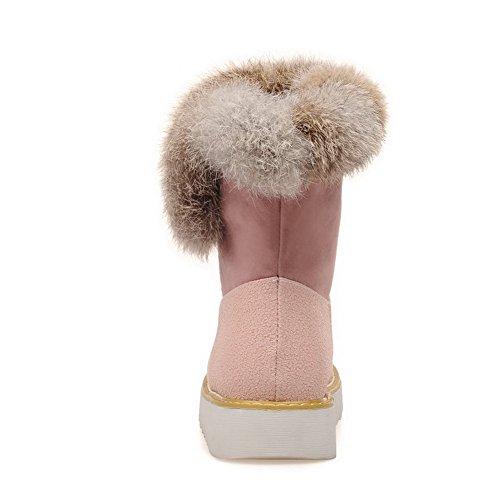 AgooLar Damen Niedriger Absatz Mattglasbirne Niedrig-Spitze Gemischte Farbe Stiefel, Pink, 37