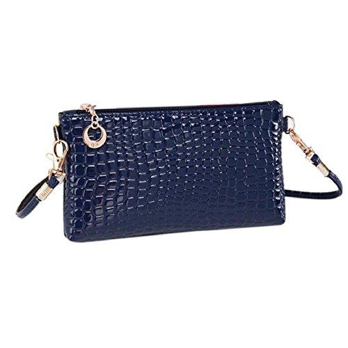Krokodil-leder Handtasche (Ularmo Umhängetasche Damen Krokodil Leder Handtasche Kleine Reißverschluss Schultertasche(blau))
