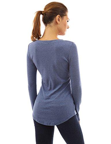 PattyBoutik Damen Tunika mit langen Ärmeln V-Ausschnitt und Schnüren Blau