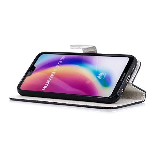 Coque Huawei P20 Lite,Etui Huawei P20 Lite,Surakey Huawei P20 Lite Cuir PU Housse à Rabat Portefeuille Étui Flip Case Folio à Clapet Stand de Fermeture magnétique, Noir+Blanc