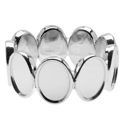 silver-tone-plastic-stretch-bezel-collage-bracelet-18x25mm-ovals-7-inch-1
