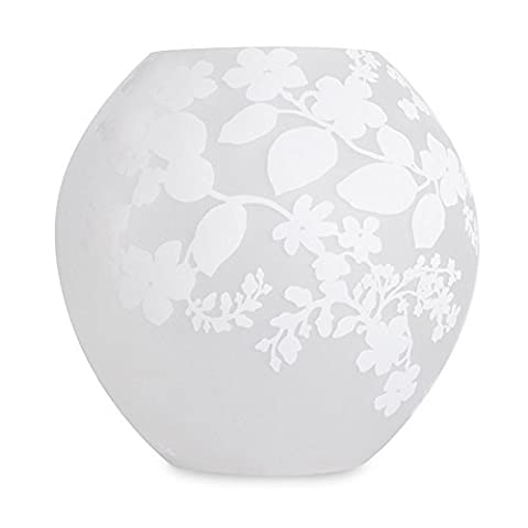MiniSun - Contemporary Frosted Glass White Floral Leaf Damask Pattern Round Ball Glass Table Lamp Light