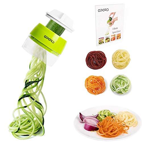 Opard Spiralschneider Hand für Gemüsespaghetti, 4 in1 Gemüseschneider,Gemüse Spiralschneider Gemüsehobel für Karotte, Gurke, Kartoffel, Kürbis, Zucchini -