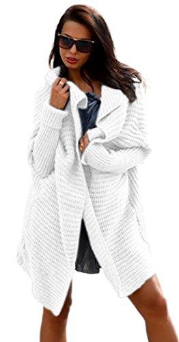 Damen Frauen Cardigan Lang Pulli Pullover Strickjacke Wasserfall Oversize Cardigan Damen Strick S M L XL36 38 40 42 (665)(Weiß)