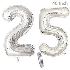 Idea Regalo - 2 Palloncini Numero 25, number 25 Decorazione di compleanno Ragazza d'argento, 40