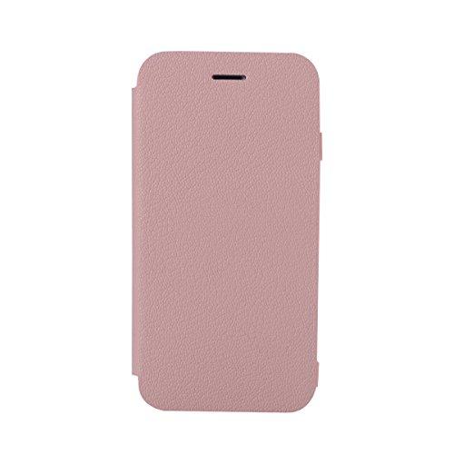 Custodia iPhone 8, Flip Premium Portafoglio Custodia in sintetica Protettiva Custodia [Cuffie Custodia] per iPhone 8. (Blu Scuro) Pink