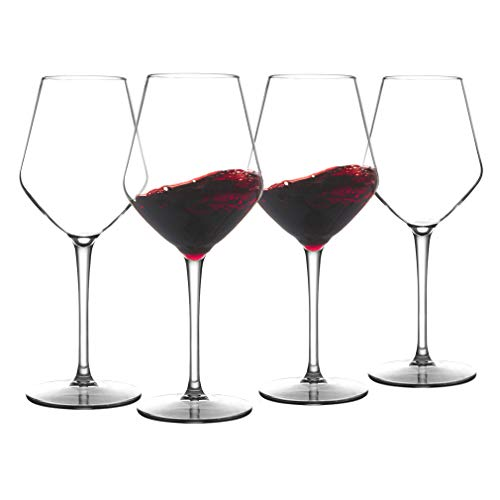 COOKY.D Large Tritan-Plastic Red Bordeaux Wine Glasses 15oz, Unbreakable Long Stemmed Glassware for Party, Birthday, Dishwasher Safe, BPA Free, Set of 4