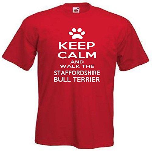 Loopyparrot Keep Calm and Walk The Staffordshire Bull Terrier T-Shirt 512 Gr. XL, Rot (Terrier Hund-schüssel)