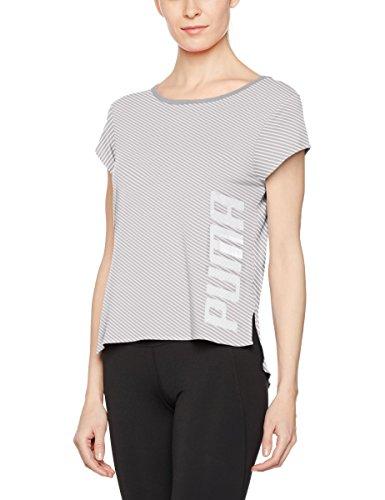 Dancer Light T-shirt (PUMA Damen Dancer Drapey Tee T-Shirt, Light Gray Heather-Stripe, M)