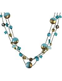 09071d94dd65 Tata Gisèle Collar fantasía – Tres Filas de Metal Plateado y Dorado y Perlas  sintéticas –…