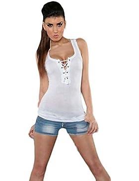 Chaleco para mujer Sexy Verano Casual Encaje Sin respaldo Camisola Blusa sin mangas Camiseta de la camiseta Camisetas...
