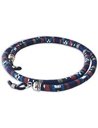 Cordón redondo de gafas estampado étnico azul marino rojo blanco beige
