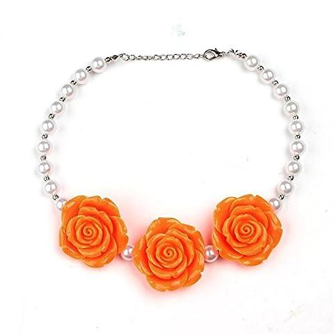 Ating Collier enfant simple Fleur Perle court, Orange