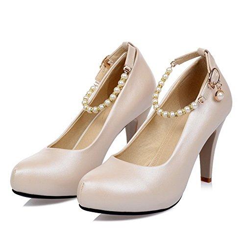 AgooLar Femme Rond à Talon Correct Verni Couleur Unie Tire Chaussures Légeres Abricot