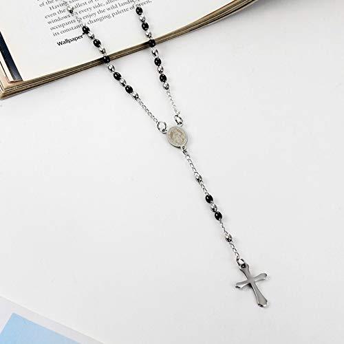 NSXLSCL Halsketten Für Frauen,3 Mm Ovale Perle Rosenkranz Kreuz Anhänger Halskette Edelstahl Schmuck Für Frauen Geburtstag, Silber Und Schwarz - Perlen-halskette Doppel-rosenkranz