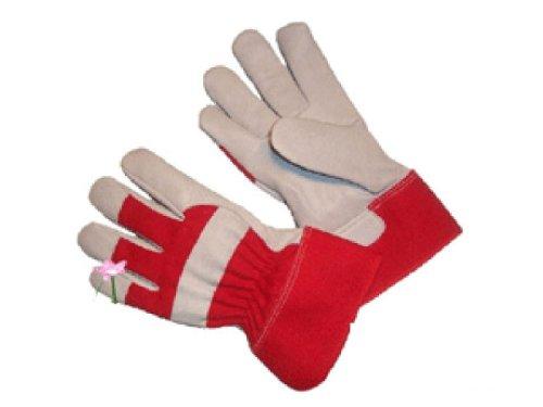 G & F 3051Arbeitsgürtel Ziegenleder Damen Garten Handschuhe mit gummierten Sicherheit Manschette–Rot