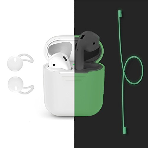 Galleria fotografica Silicone Case for AirPods, Bandmax Luminous Green Silicone Protective Cover Skin with Luminous Strap Connector and Headphones Earbuds for Apple Airpods Charging Case (Luminous Green)