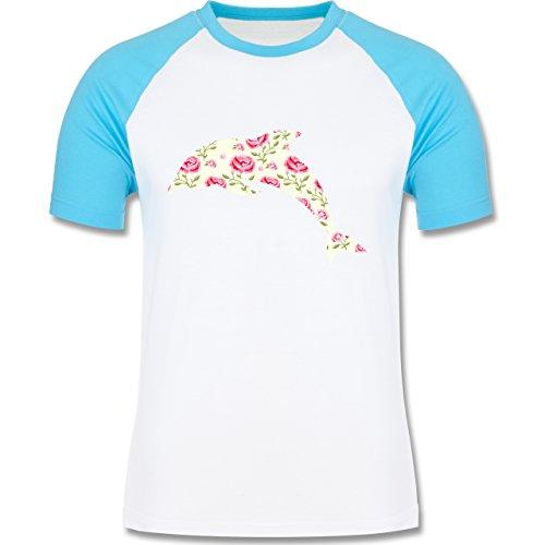 Sonstige Tiere - Delfin Blumen Rose - zweifarbiges Baseballshirt für Männer Weiß/Türkis