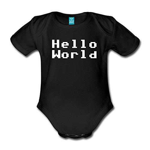 Spreadshirt Hello World Baby Bio-Kurzarm-Body, 56 (0-1 M.), Schwarz