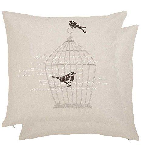 Marque : clayre eef & s005.020 tryPinky housse de coussin motif oiseaux cage à oiseau (sans coutil : env. 40 x 40 cm