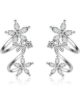 Boowhol Ohrring Ohrclip Ohrstecker 925 Sterling Silber Zirkonia Mode Temperament Schöne Süß Blumen Ohrringe Ohne...