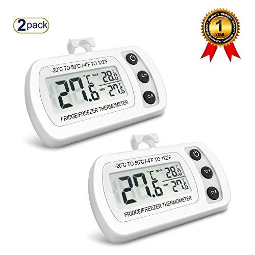 NEXGADGET 2 Pièces Thermomètres Réfrigérateurs LCD Digital Thermomètres Congélateurs Température de -20°C à +50°C (-4°F à +122°F) Idéal pour Maison Restaurants Bars et Cafés