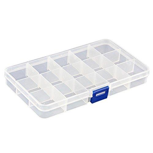Emall supply Boîte de rangement en plastique pour bijoux 15 compartiments