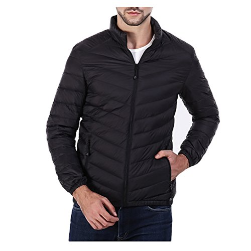 Zhhlaixing Beau Winter Outdoor Men Warm Gray Removable Hat Hooded Jacket Filled Jacket Black