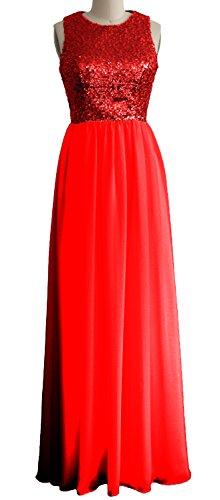 MACloth - Robe - Trapèze - Sans Manche - Femme Rouge