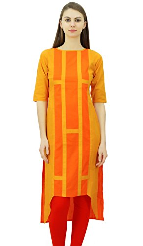 Phagun Womens coton indien Designer Tunique Asymétrique Hem Kurti Casual Porter Kurta Orange