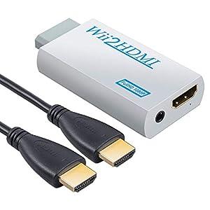 AUTOUTLET Wii zu HDMI Adapter, Wii Hdmi 1080P/720P Full HD Konverter, mit 3,5mm Video Audio Ausgang und 1m HDMI Kabel, für Nintendo Wii weiß