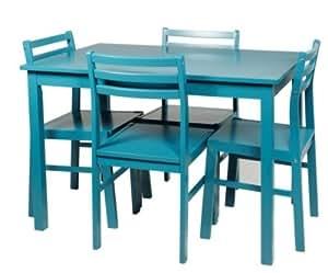 TABLE + 4 CHAISES DETROIT BLEU
