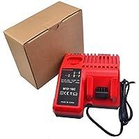 Mouchao Caricabatterie di Ricambio Caricabatterie 110-240 V Li-Ion per Milwaukee M12-M18C Rosso e Nero
