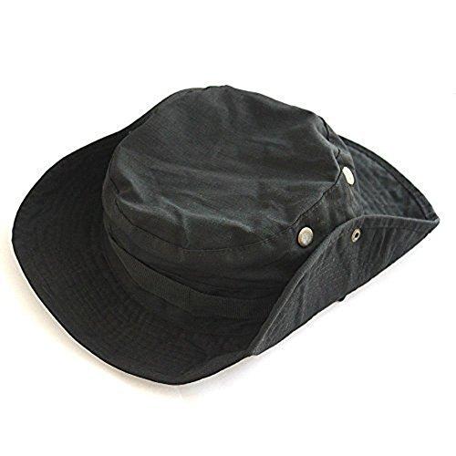 Demarkt Outdoor Hut Sonnenschutz Sun Hut Outdoor Buschhüte mit Kinnband Für Fishing Hunting Hiking Cap Busch (Schwarz) Schwarze Outdoor Hut