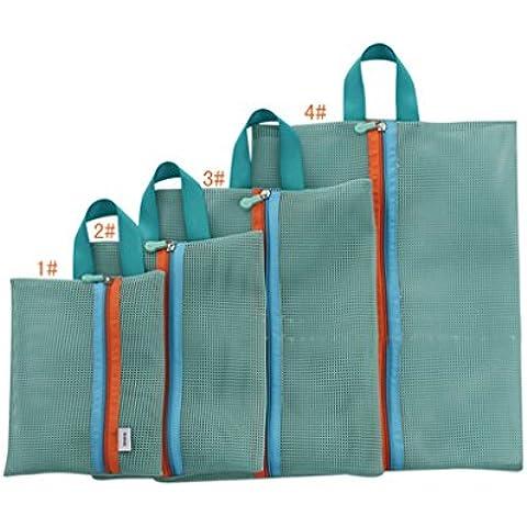 WITERY Set di 4 Volume in Nylon leggero da viaggio essenziali Bags-Borsa da viaggio con scomparti e borsa di rete