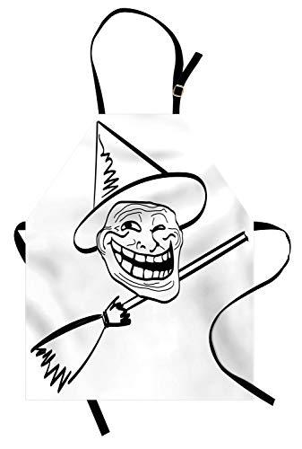 ABAKUHAUS Humor Kochschürze, Halloween Geist Themed Hexe Guy Meme LOL Freude Spooky Avatar Kunstvolle Bild drucken, Farbfest Höhenverstellbar Waschbar Klarer Digitaldruck, Weiß und Schwarz