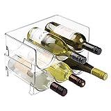 mDesign Juego de 2 botelleros de vino – Mueble botellero con capacidad para 3 botellas de vino o agua por unidad – Estantes para vinos apilables – transparente