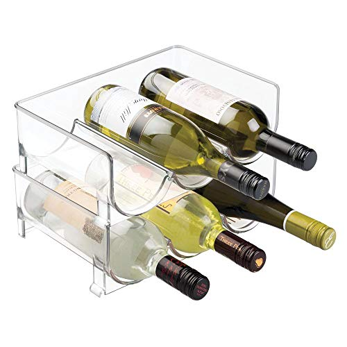 mDesign Rangement Bouteille (Lot de 2) - Porte Bouteille empilable - idéal comme casier à Bouteille avec de la Place pour Ranger 3 Bouteilles de vin ou d'Eau - Transparent