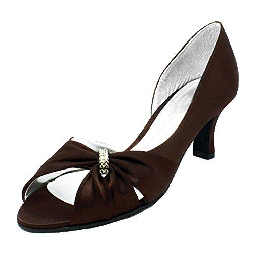 Onorevoli raso tacco gattino scricchiolio peep toe scarpe da sera Brown