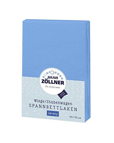 Julius Zöllner 8330147540 Jersey Spannbetttuch für Wiegen 90x40 und Stubenwagen, Farbe: blau