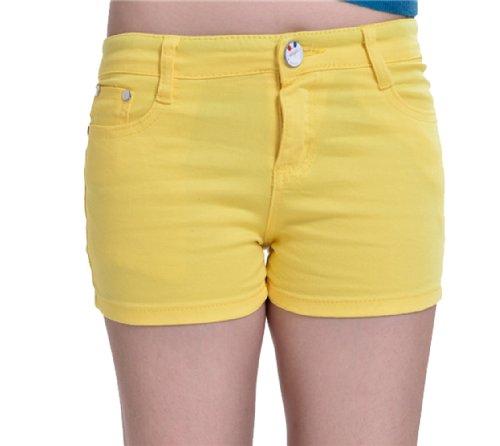Zll OE Short court pour femme en jeans Skinny Jaune - Jaune