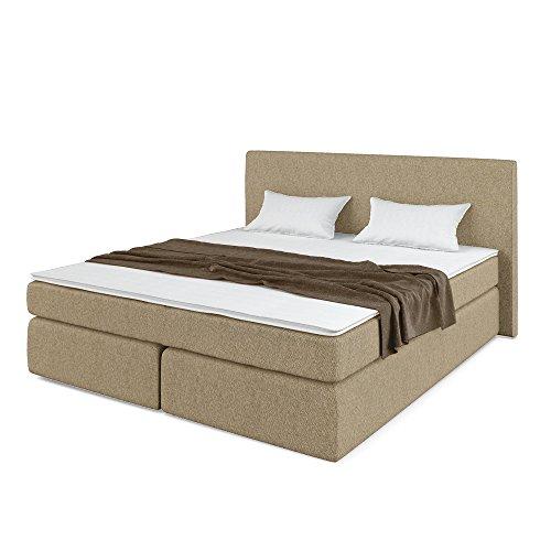 Designer Boxspringbett Doppelbett Polsterbett Bett Hotelbett Stoff (beige 180x200cm)