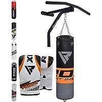 RDX Boxsack Set Gefüllt Kickboxen MMA Muay Thai Boxen wandhalterung mit klimmzugstange Stahlkette Training Handschuhe Kampfsport Schwer Punchingsack Gewicht 5FT (MEHRWEG)