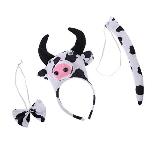 Kostüm Kuh Kit - Fenteer Weihnachten Mädchen Jungen Stirnband Bowtie Schwanz Kit Tier Kostüm Set Party Cosplay Kostüm - Mehrfarbig Kuh, 3pcs/Set