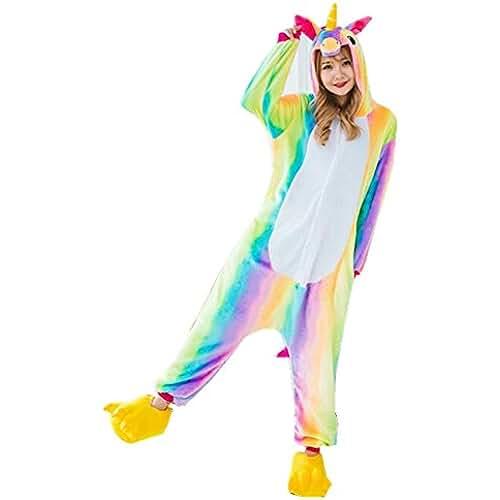 pijama de unicornio kawaii Rainbow Fox Unicornio pijama adultos Cosplay disfraz Animal Ropa de dormir Franela Novedad Víspera de Todos los Santos Navidad ropa